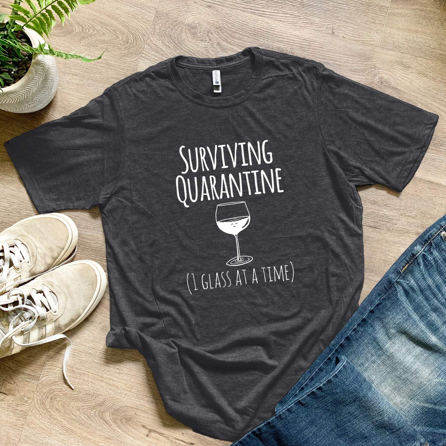 Product Image for Surviving Quarantine (1 Glass At A Time) - Men's Tee